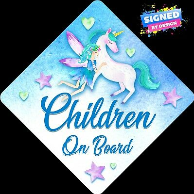Non Personalised Child/Baby On Board Car Sign~Fairy & Unicorn~Children On Board