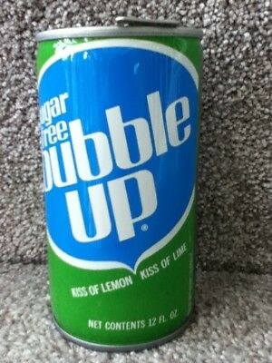 "Sugar free bubble up crimped steel with ""short lived"" type of pull tab."