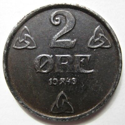 Nice Norway 1945 Iron Two Öre Coin - German Occupation (Km#394)