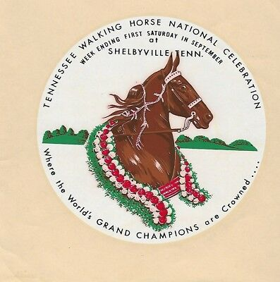 "Tennessee Walking Horse ""VINTAGE"" Celebration Water-Mark Sticker! Pre- 1960's!!!"