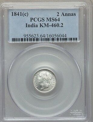INDIA/BRITISH 1841(c) 2 ANNAS SILVER COIN CHOICE UNCIRCULATED CERTIFIED NGC MS64