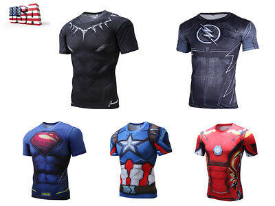 Marvel Mens Compression T-Shirt Superhero Tops Gym Jersey Tee Superman Panther