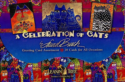 Leanin Tree Celebration of Cats Laurel Burch 20 Blank Cards 2 each of 10 designs