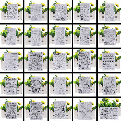 Transparent Silicone Clear Rubber Stamp Sheet Cling Scrapbooking Cards Decor DIY
