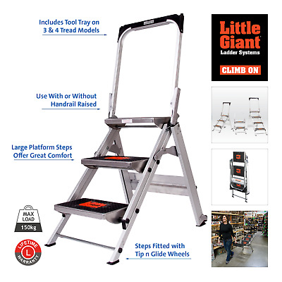 Little Giant Safety Steps, Folding Flat for Easy Storage. 2, 3 & 4 Sized Treads