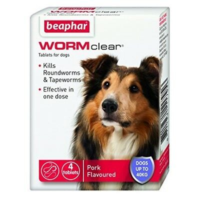 Beaphar Worm Clear Large Dog Pack Of 4 Tablets - Dogs Worm Cats Tape