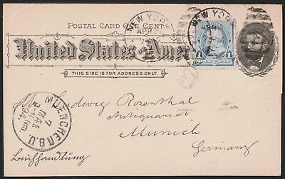USA 1894 Postal Card From New York To Munich Germany  VF