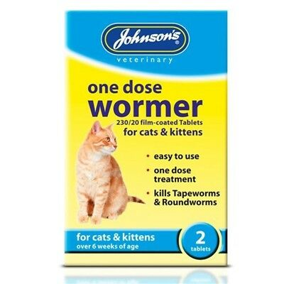 Johnson's One Dose Wormer For Cats And Kittens, 2-piece - Johnsons Tablets Cat
