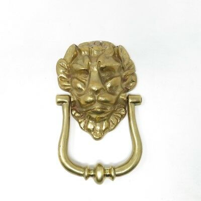 "Vintage Lion's Head Heavy Brass Door Knocker with Screws 7 1/4"" Tall"