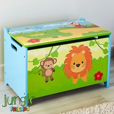 Wooden Toy Box Chest Storage With The Theme Of Jungle Friends Ideal For Kids