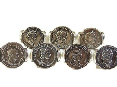 Artisan Mens Sterling Silver Ancient Roman Caesar Coin Signet Ring US Size 8 925