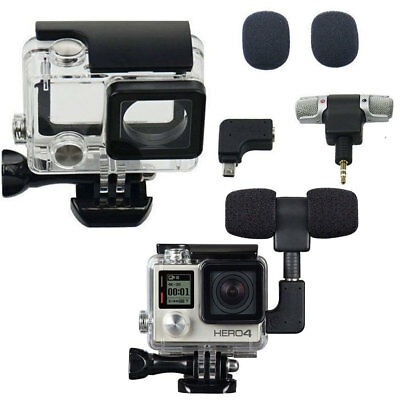 Side Open Skeleton Housing Case + Adapter Kit + Microphone For GoPro 3+ 3 Hero4