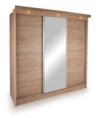 Oslo 3 Door Sliding Mirrored Wardrobe With Lights, Oak