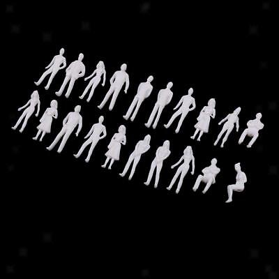 20pcs Miniature White Figure 1:50 Architectural Human Model Plastic People