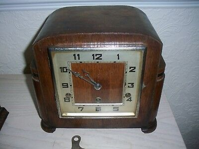 Fhs German   Vintage  Westminster  Chiming Mantel Clock Key Wind