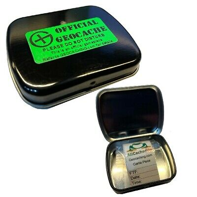 Flip Top Mini Tin Geocache container Ready to Hide Magnetic Option Ready to Hide