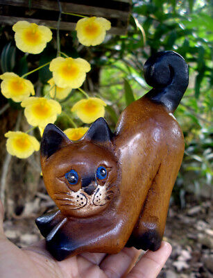 Hand Carved Wooden lazy Cat Figurine Crafted Wood Kitty Kitten handmade gift A