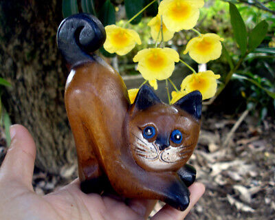 Hand Carved Wooden lazy Cat Figurine Crafted Wood Kitty Kitten handmade gift B