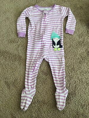 Size 12 Months Carter's Full Zip Up Pajamas ~Purple & White Striped PERFECT