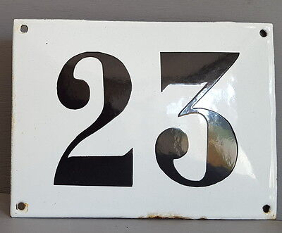 LARGE ANTIQUE FRENCH ENAMEL METAL DOOR HOUSE GATE NUMBER SIGN Black & white 23