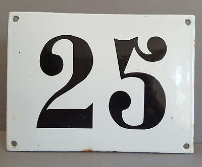 LARGE ANTIQUE FRENCH ENAMEL METAL DOOR HOUSE GATE NUMBER SIGN Black & white 25