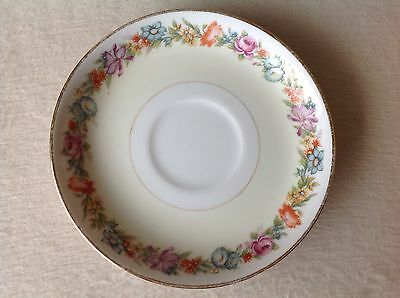 Narumi China Porcelain Plate Floral Yellow Gold Rim Stratford 5-1/2""