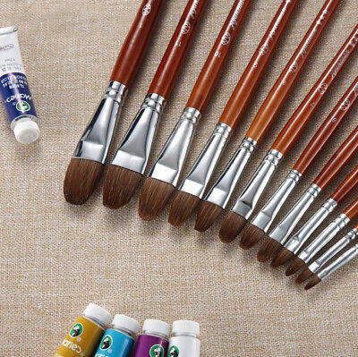 Sable Weasel Hair Filbert Artist Paint Brush For Oil Acrylic Watercolor 12 Sizs