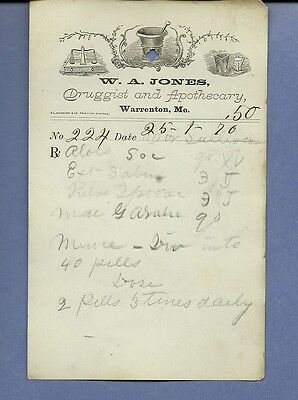 1870 WA Jones Druggist Apothecary Warrenton Missouri Prescription Receipt No 224