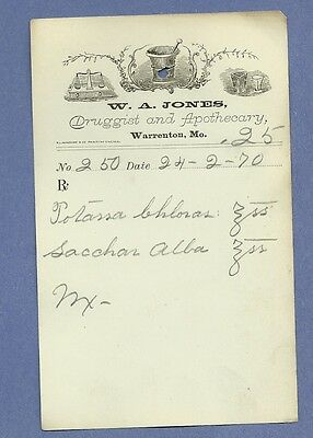 1870 WA Jones Druggist Apothecary Warrenton Missouri Prescription Receipt No 250
