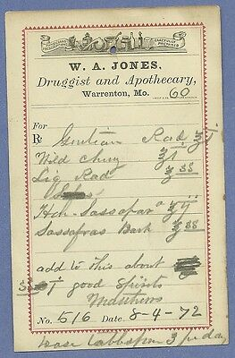 1872 WA Jones Druggist Apothecary Warrenton Missouri Prescription Receipt No 516