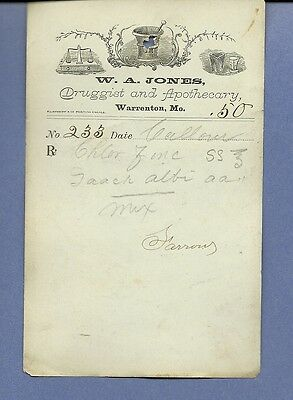 1870 WA Jones Druggist Apothecary Warrenton Missouri Prescription Receipt No 233