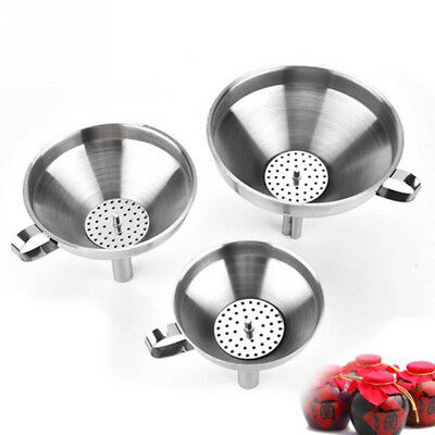 Stainless Steel Pouring Decanting Funnel With Filter Jam Strainer Kitchen Tools