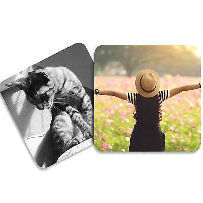 Personalised PHOTO COASTERS Custom YOUR PHOTO IMAGE TEXT Perfect Gift!