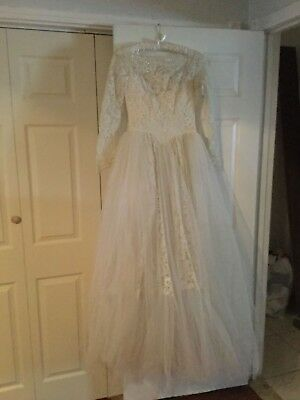 Vintage Wedding Bridal Gown ANTIQUE Lace, Pearls full bottom  3 layers