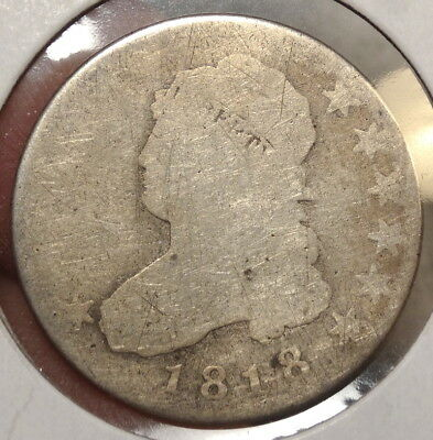 1818 Capped Bust Quarter, Scarce, Circulated with Full Date - No Reserve 0411-15