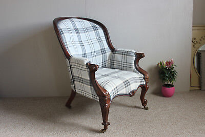 Victorian antique new upholstered armchair c. 1850