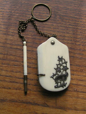Antique French Cow Bone Aide Memoire Silver Metal With Pencil & Chatelaine Chain