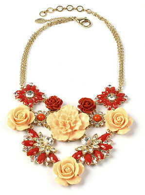 Amrita Singh Gold Coral Red Peach Resin 3D Rose Garden Necklace NKC 8802 NWT