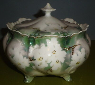 e1900's R. S. PRUSSIA red mark CRACKER JAR biscuit MOLD #451 in SURREAL DOGWOOD