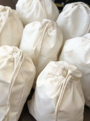 12 x 16 Inches Cotton Muslin Bags. Natural Single Drawstring. Wholesale Prices