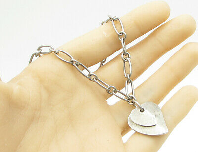 """925 Sterling Silver - Vintage Love Heart Accent 18"""" Chain Link Necklace - N1089"""