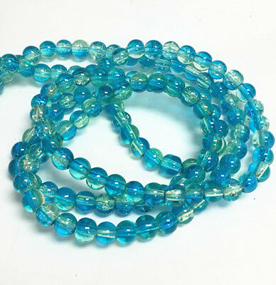 1 strand 31 inches 6mm crackle glass round beads about 130pcs-bb178