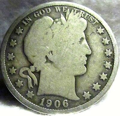 1906 US 50C BARBER SILVER HALF DOLLAR ~ Philadelphia Mint