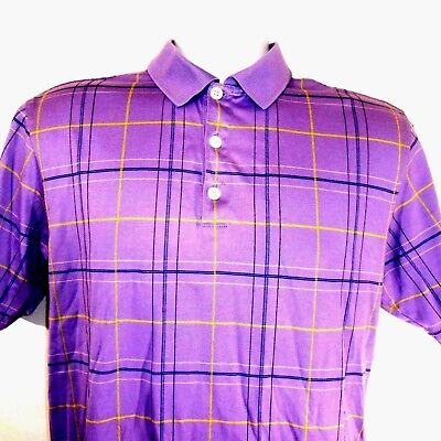 c3d224aa0 Nike plaid polo golf shirt mens size small purple 100% cotton window pane  casual