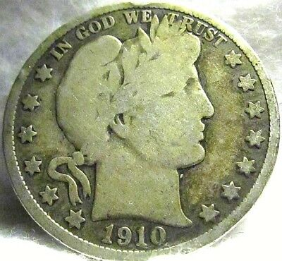 1910 US 50C BARBER SILVER HALF DOLLAR ~ Philadelphia Mint