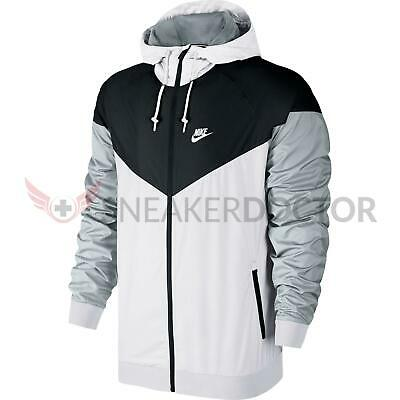 a226e1c3040c New Nike Mens Windrunner Hooded Track Jacket White Black Wolf Grey All Sizes