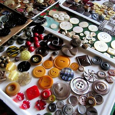 Huge Button Lot Antique Vtg Victorian Steels Glass Mop Bakelite Celluloid Flower