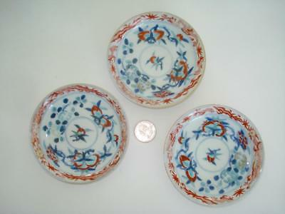 Three Antique Chinese Porcelain Doucai Dishes Marked 19Th Cent