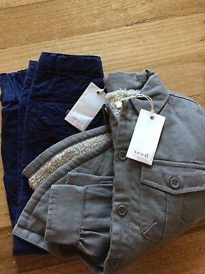SEED Boys winter outfit bundle shearling SHACKET AND PANTS size 5-6 BWNT