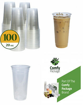 Plastic Cups CRYSTAL CLEAR PET [100 pack] (20 oz)